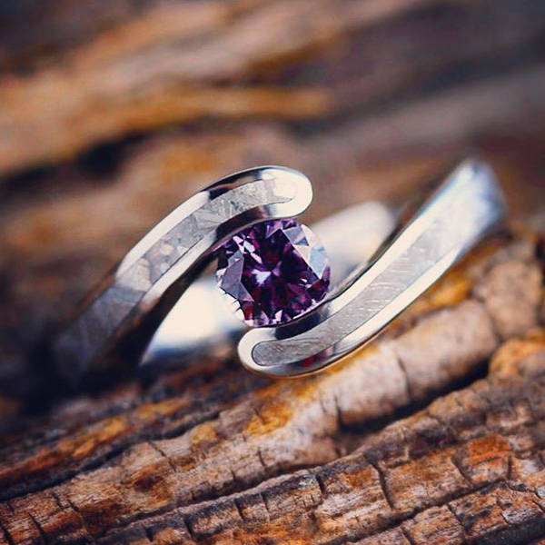 GIBEON METEORITE ENGAGEMENT RING, ALEXANDRITE IN TENSION SETTING