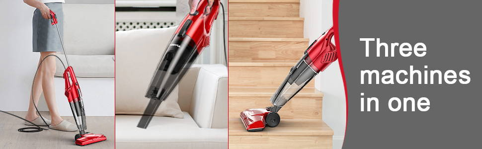 Aposen Lightweight Quiet Corded Stick Vacuum ST600 is 3 machines in 1