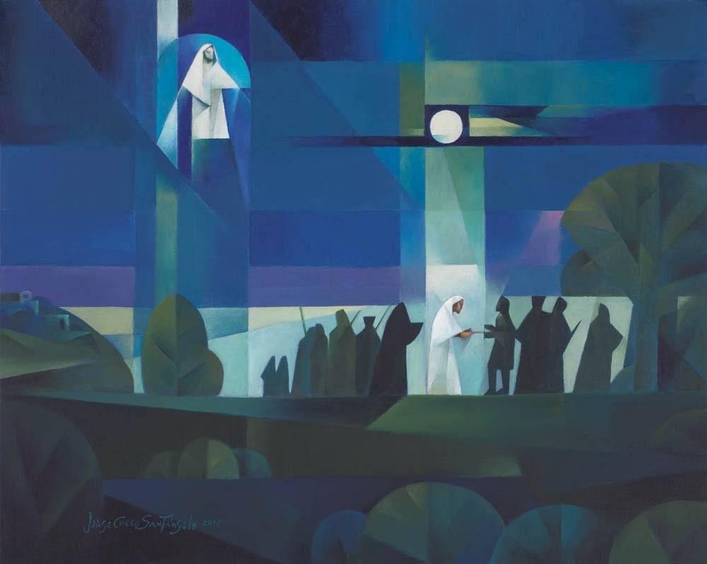 Abstract sacrocubism painting of Judas betraying Jesus.