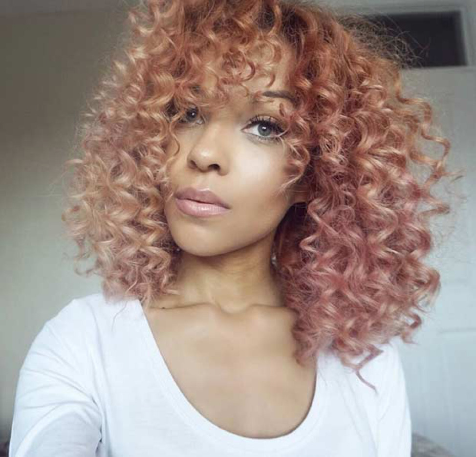 rose gold hair on black girl