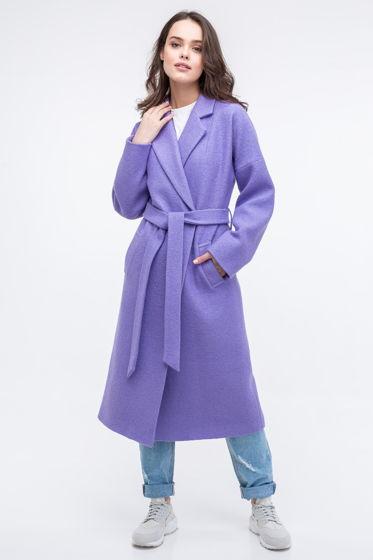 Женское пальто-халат сиреневого цвета из вареной шерсти