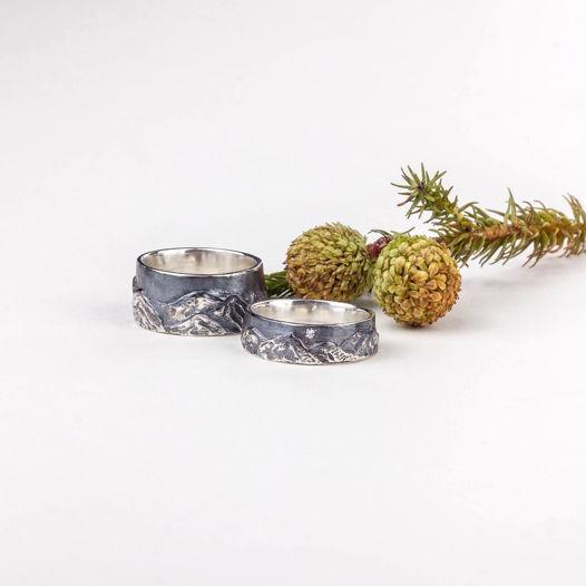 Обручальные серебряные кольца «Горы»