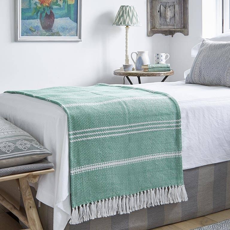 Oxford Stripe Aquamarine Blanket