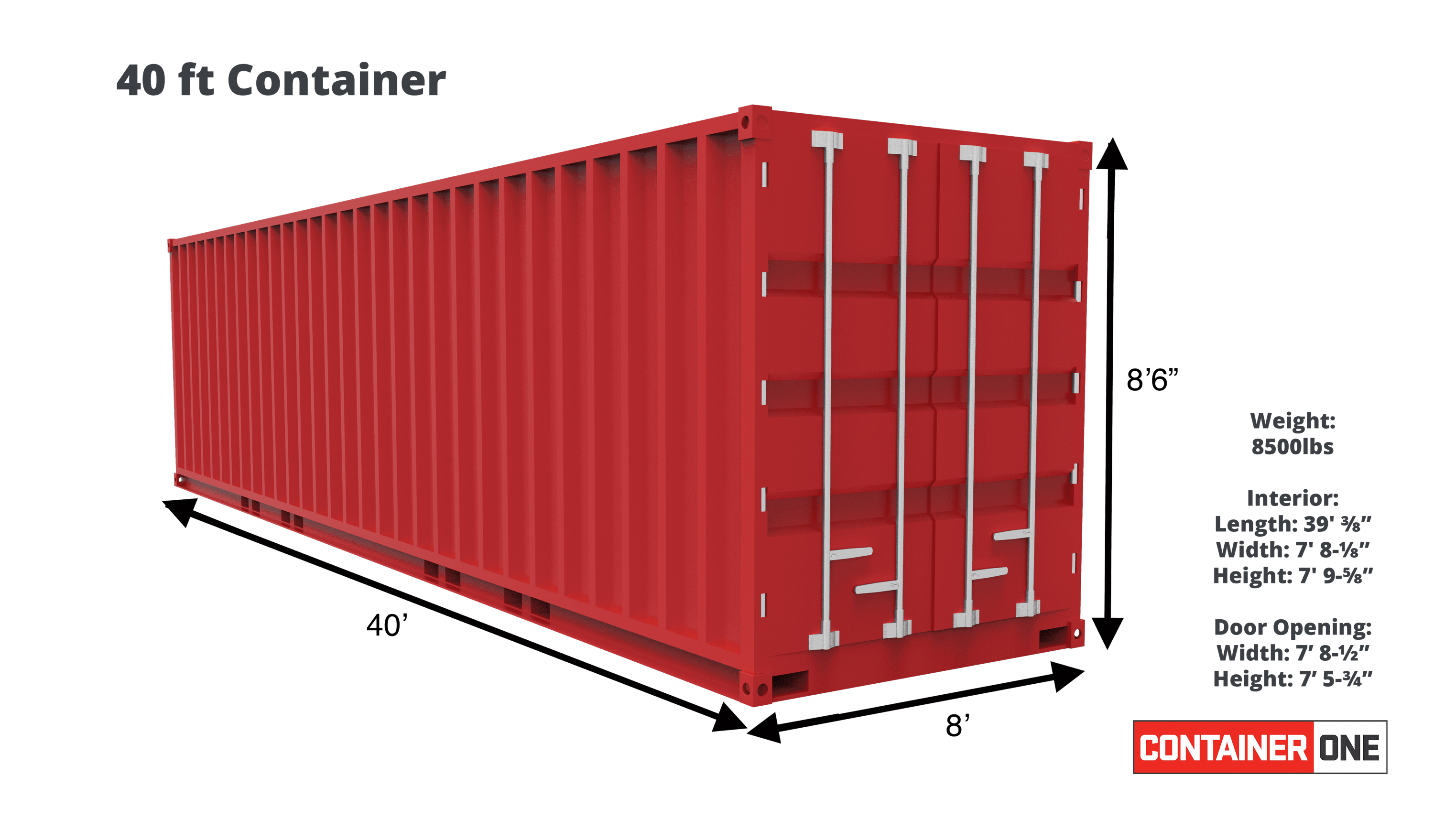 40 foot high cube shipping container specifications