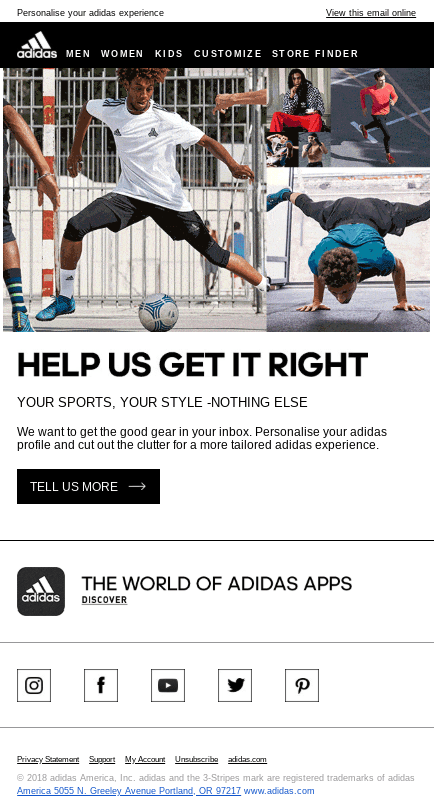 Adidas sends a campaign asking the subscriber to personalize her email and product preferences.