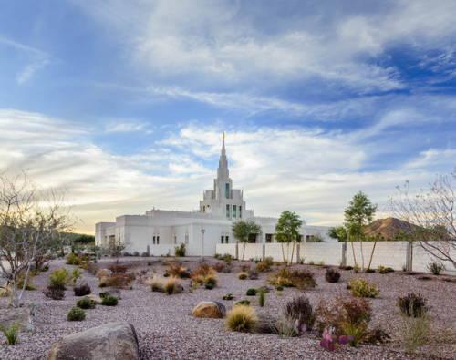 Phoenix Temple photo surrounded by desert landscape.