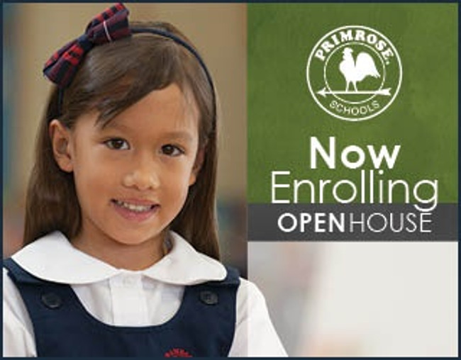 Open house poster featuring a young Primrose student smiling