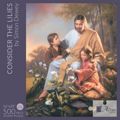 Box cover of a 500 piece puzzle featuring Jesus sitting with two children.