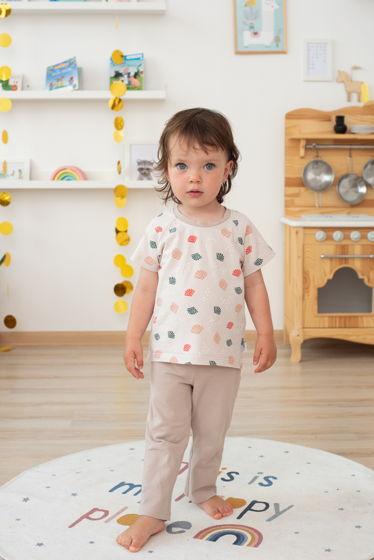 Пижама унисекс бежевая с ракушками