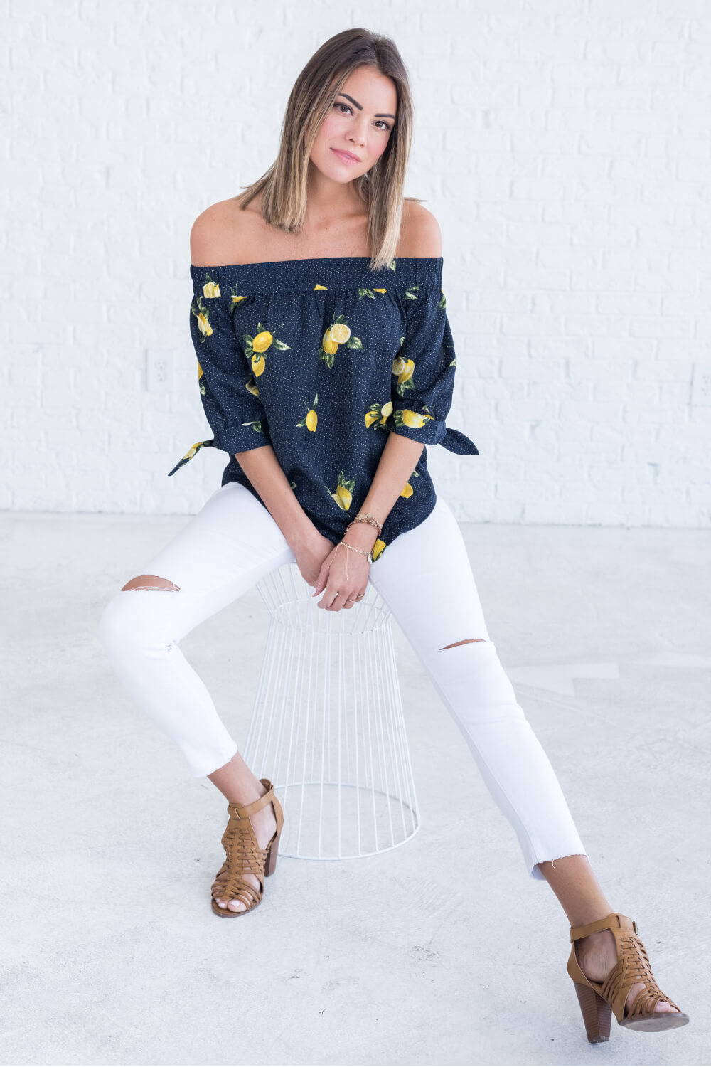 Summer Reading List 2018 navy lemon off shoulder top