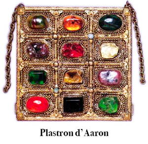 Picture illustrating the breastplate with 12 stones of the high priest Aaron, brother of Moses