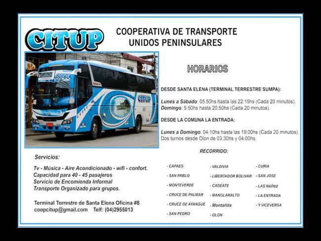 CITUP *Cooperativa de Transporte Unidos Peninsulares*-Montañita