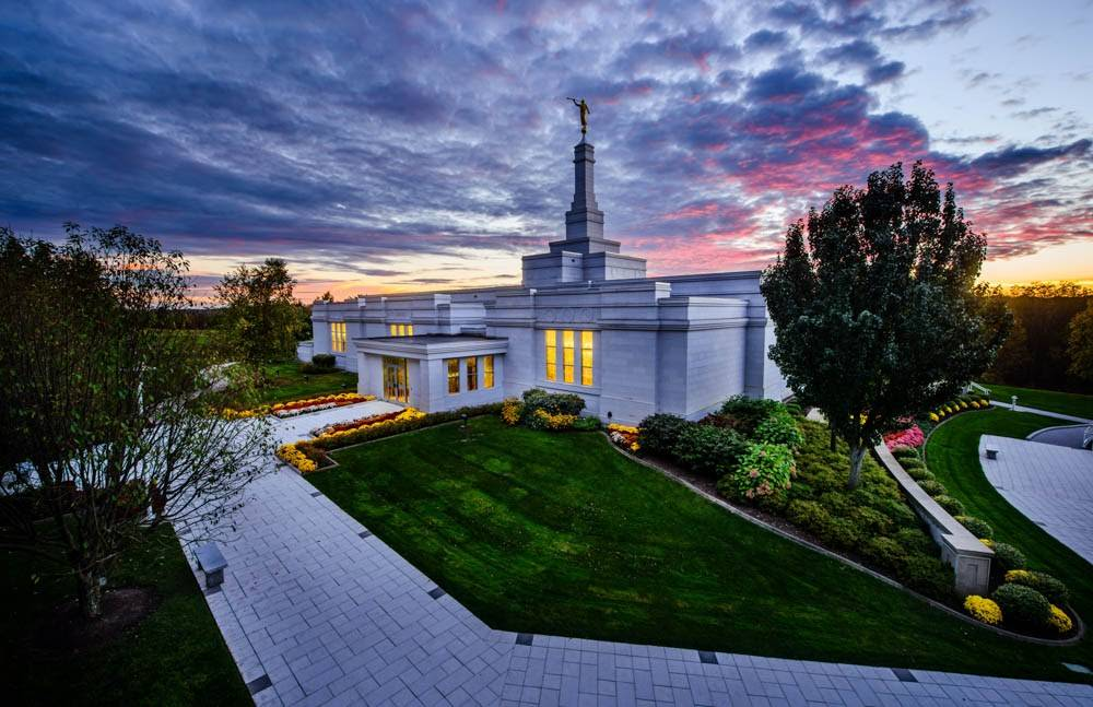 LDS art photo of the Palmyra New York Temple and walkway leading up to its doors.