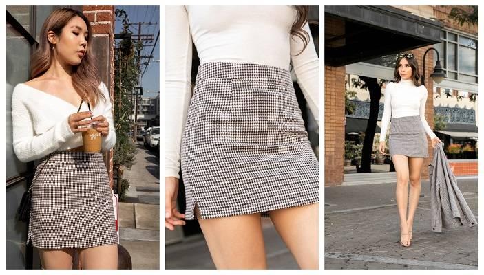 Brown Houndstooth Mini Skirt