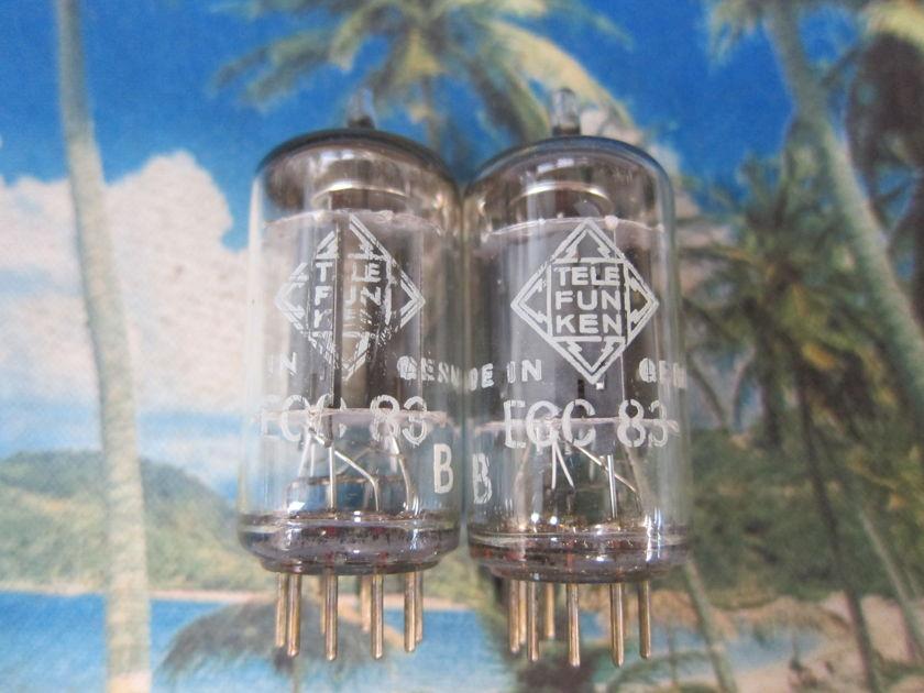Pr Telefunken Vintage 12ax7/ECC83 Preamp Driver Tubes, Matching #s West Germany, Ex Sound, Strong