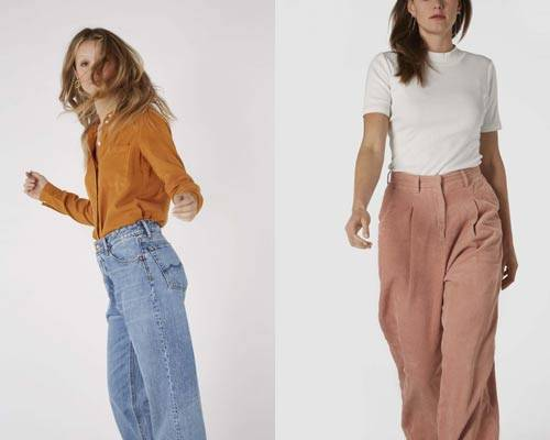 Woman wearing Kings of Indigo mustard mandarin collar shirt with light wash denim and woman wearing pink organic cotton cords with white high neck t-shirt