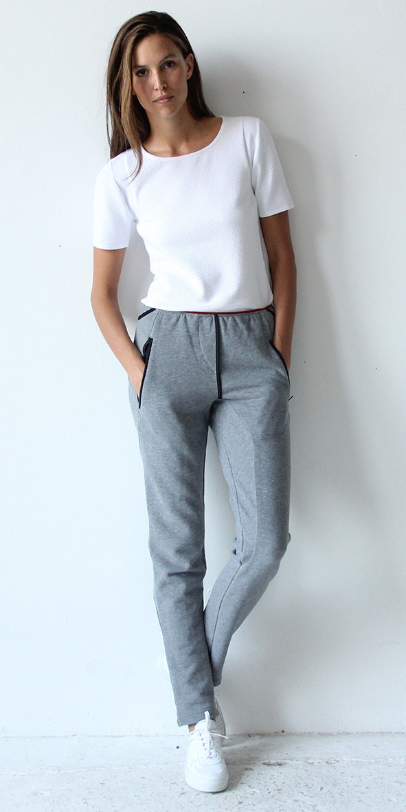 WONDROUS - HEATHER GRAY KNIT TRAVEL PANT