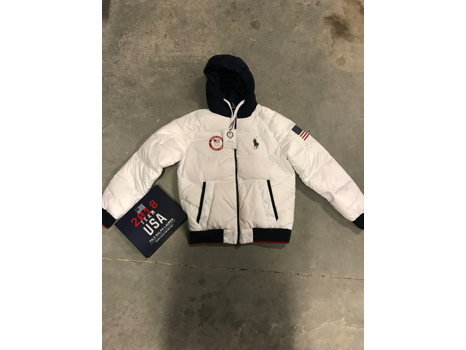 Mikaela Shiffrin's Official U.S. Olympic Polo Ralph Lauren Team USA Closing Ceremony Jacket Size M with a 2018 Team USA Heated Jacket Battery Pack