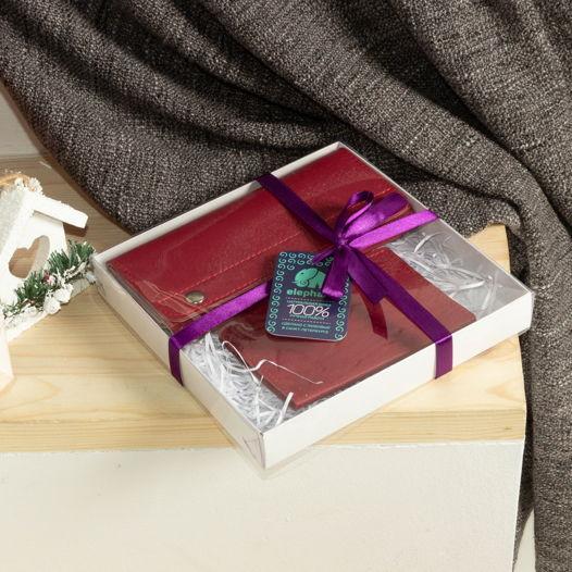 Подарочный набор из кожи красный (кошелек + обложка для паспорта)