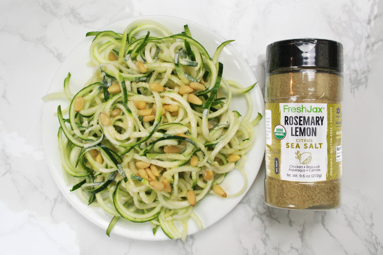FreshJax Organic Spices Rosemary Lemon Sea Salt with zucchini noodles