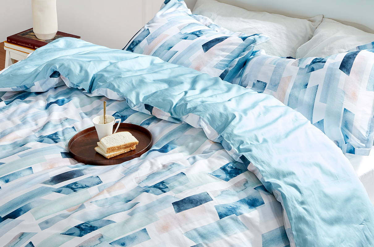 sleep zone bedding website store products collection comforter  duvet cover blue eat drink on bed