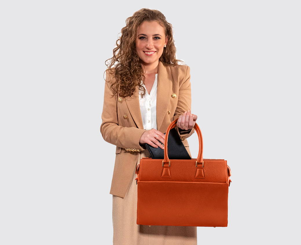 Business woman with elegant laptop bag