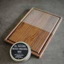 Each board comes in a raw unfinished and unseasoned form. Apply cutting board oil or wax to the board to protect it and to get the dark brown color of the board