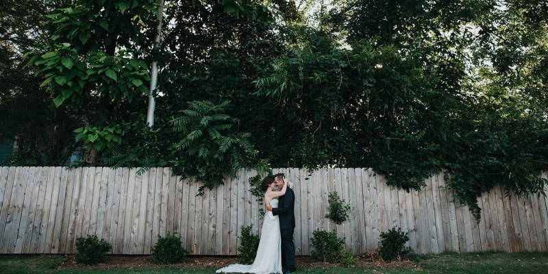 Gray dress stuns in this modern industrial chic wedding!