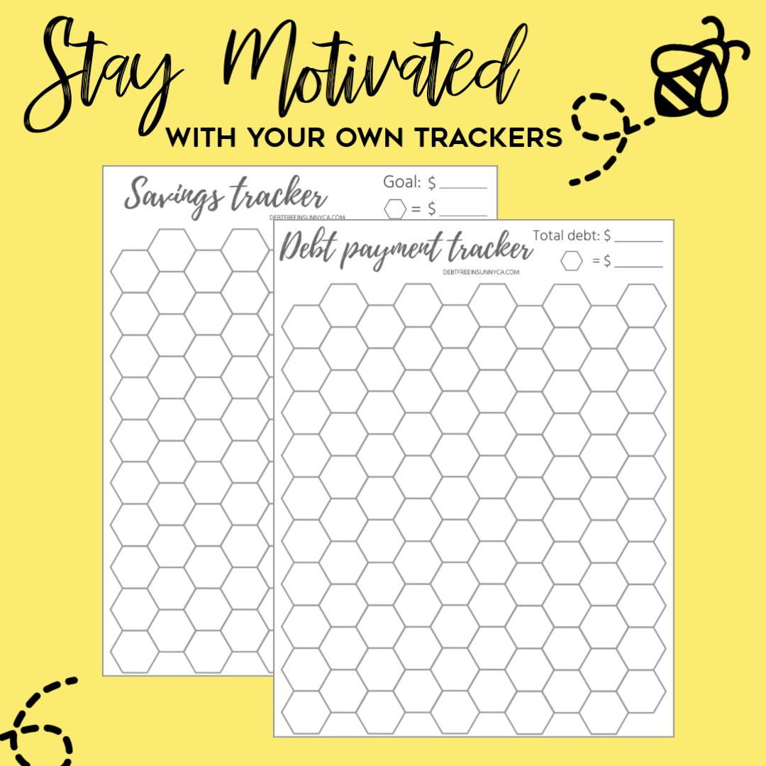 Debt Free in Sunny CA Honeycomb Debt and Savings Tracker