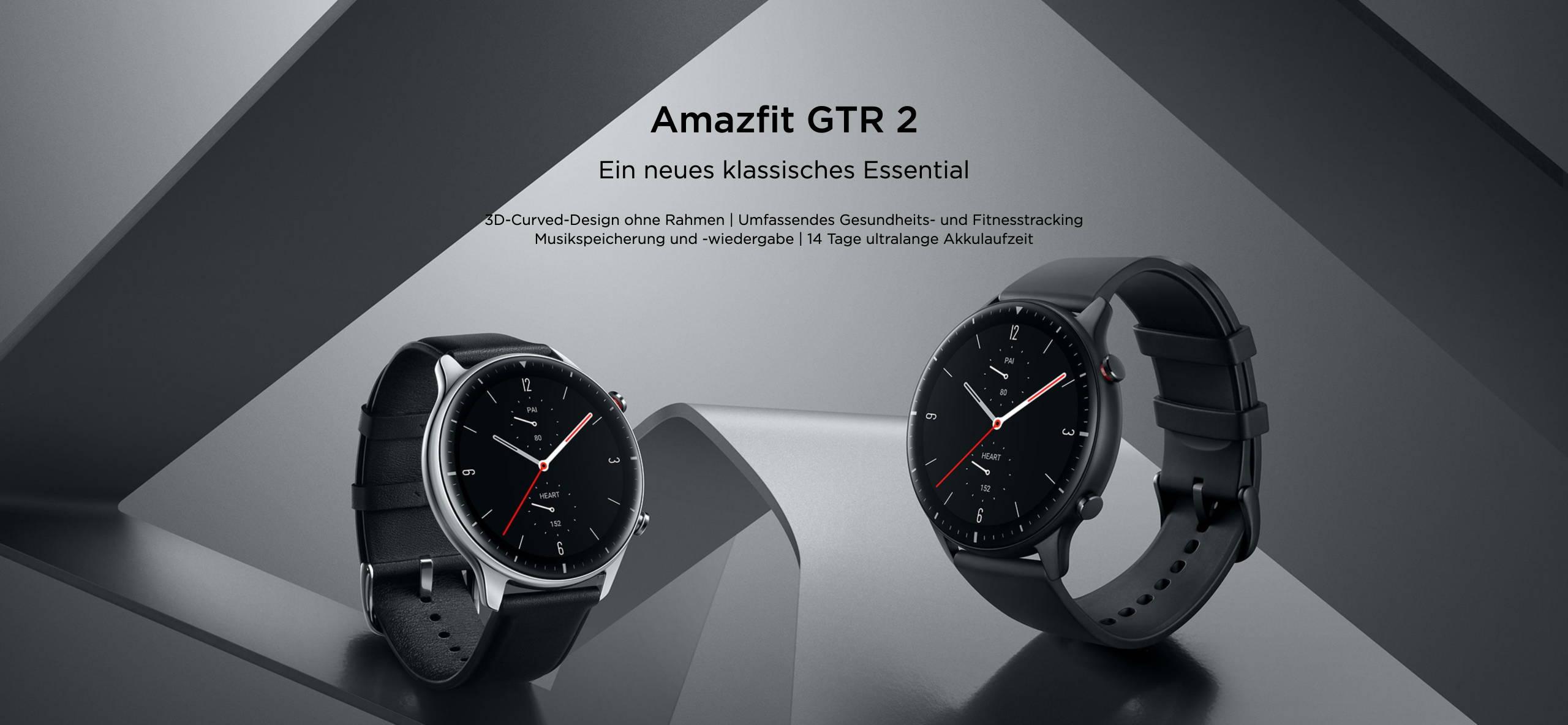 Amazfit GTR 2 - Ein neues klassisches Essential  3D-Curved-Design ohne Rahmen | Umfassendes Gesundheits- und Fitnesstracking Musikspeicherung und -wiedergabe | 14 Tage ultralange Akkulaufzeit