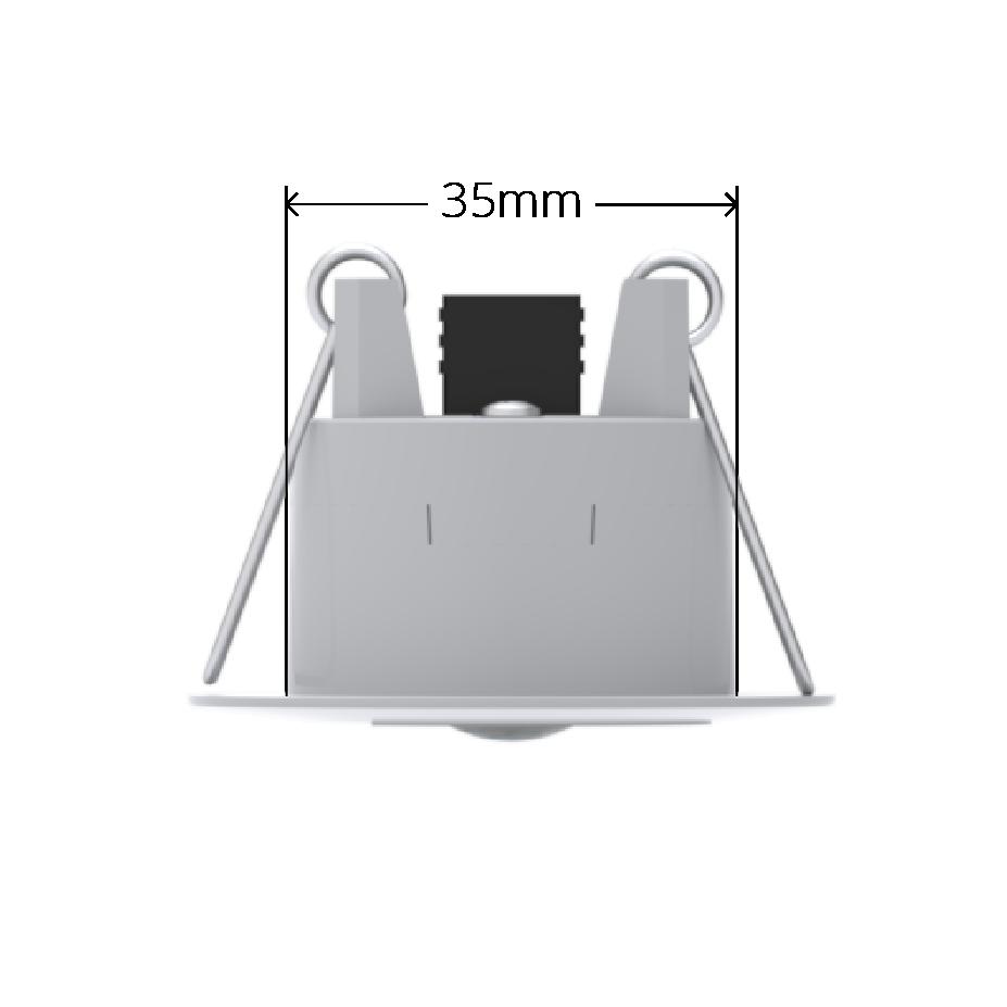 White Faradite Motion Sensor 360 volt free dry contact 35mm dimensions