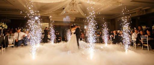 Wedding couple dancing near Cold Spark FX  machine