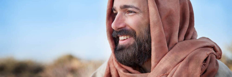 Photo of Jesus the good shepherd smiling.