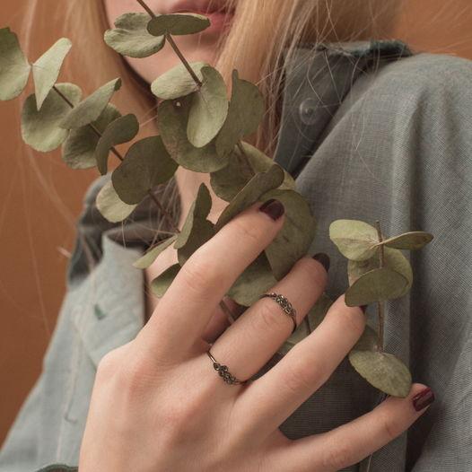 Кольцо 'Nature' серебро с чёрным родием
