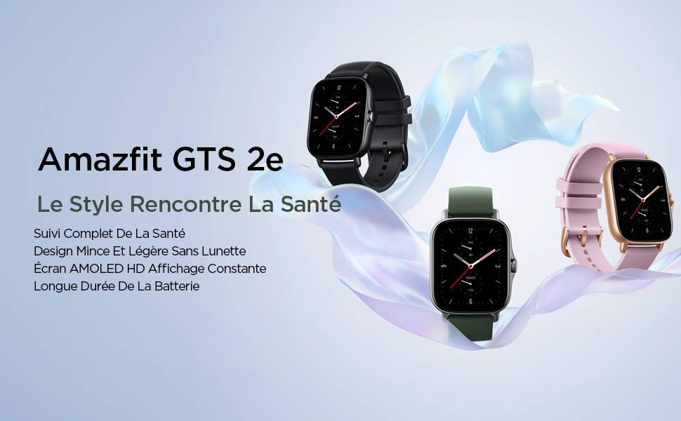 Amazfit GTS 2e - Le Style Rencontr La Santé:Suivi Complet De La Santé | Design Mince Et Sans Lunette | écran AMOLED HD Affichage Constante | Longue Durée De La Batterie.