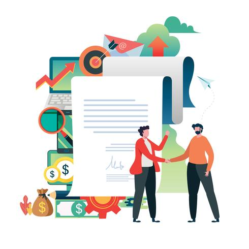 Business people signed contract hand shake of business vector illustration