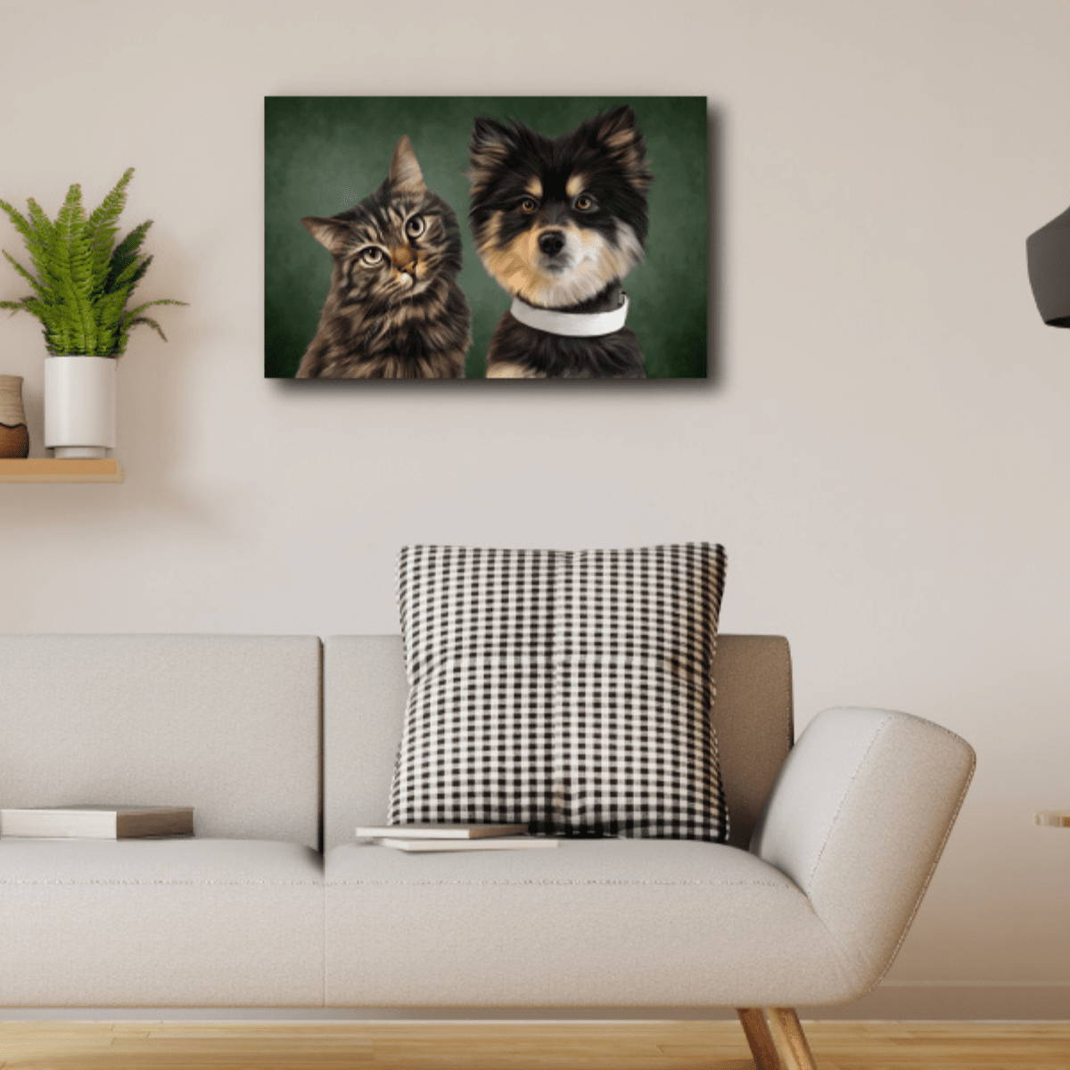 Cat and dog picture on wall of home