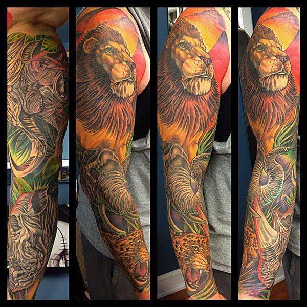 Tatouage Lion Couleurs Homme