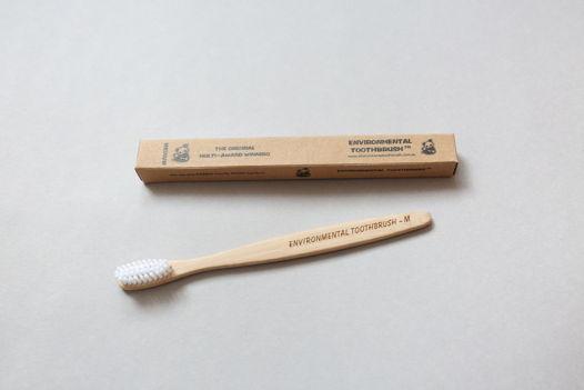 Бамбуковая зубная щетка Medium белая