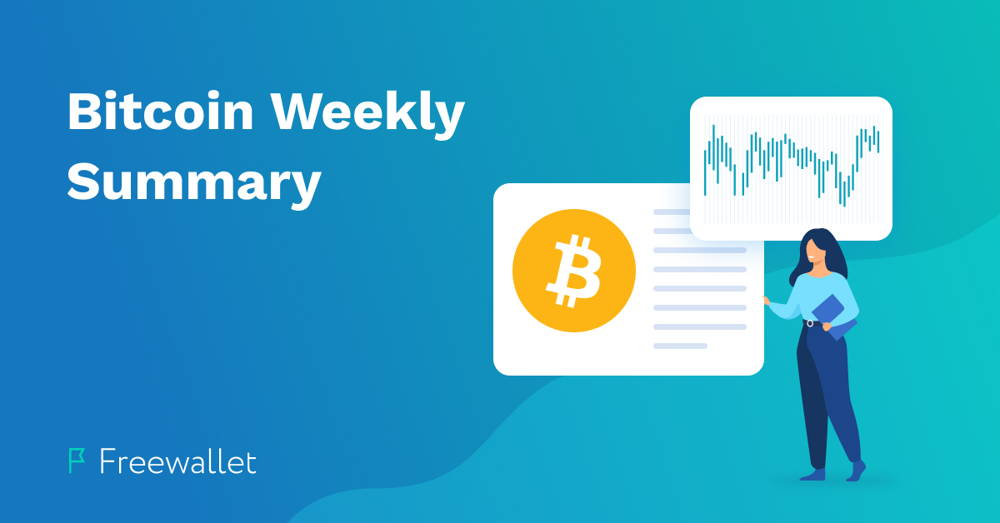 blog cover illustration of a woman beneath a bitcoin chart