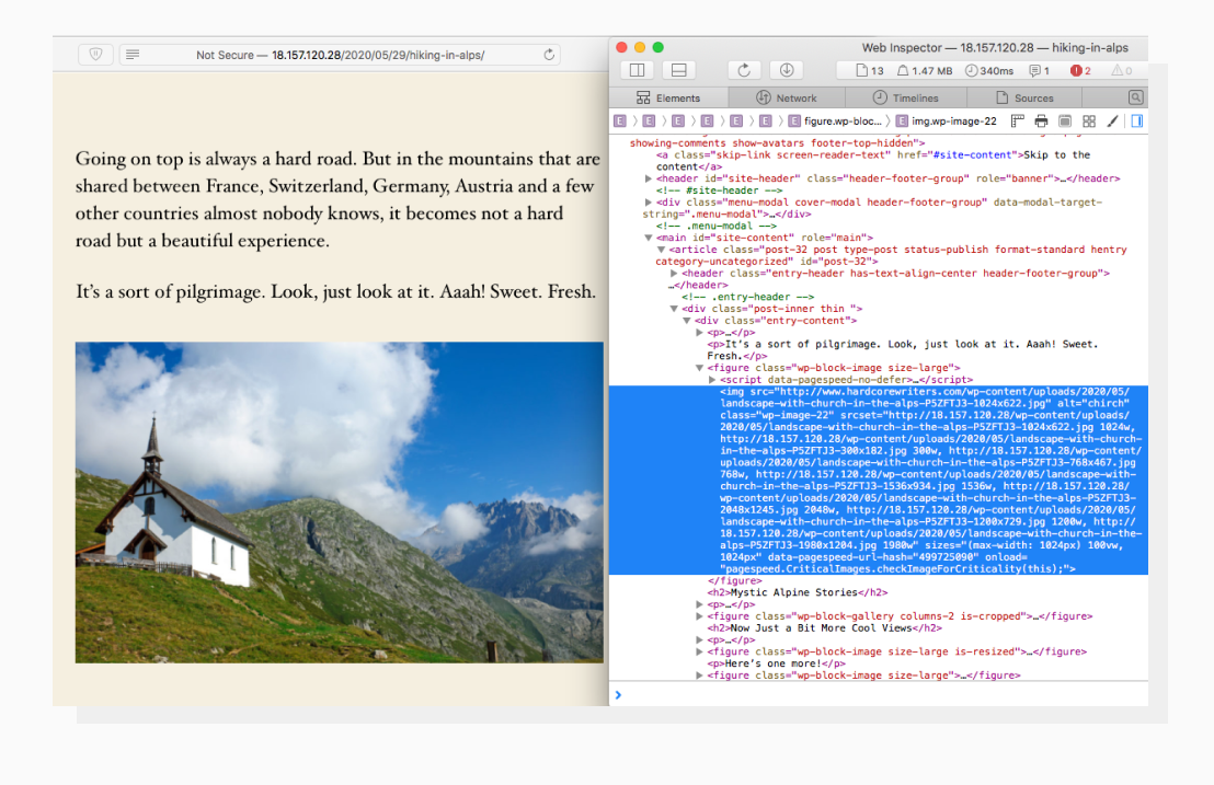 Client-side code for WordPress post that includes srcset for different image sizes. It makes this image responsive.