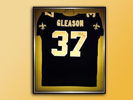 Saints Jersey Autographed by Steve Gleason in Shadow Box