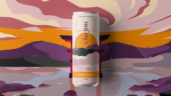 cha jun. Identity, packaging, and print collateral for the Asian kombucha brand