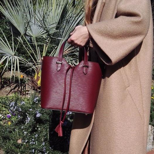 Кожаная сумка-торба DIONE красного десертного вина
