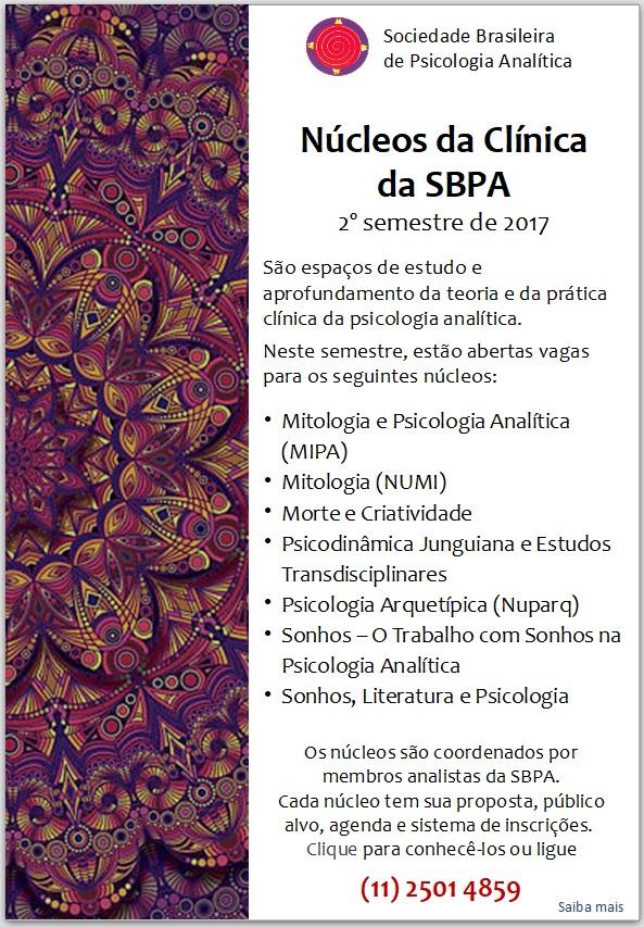 Núcleos da Clínica da SBPA - 2º semestre de 2017 - Inscrições Abertas