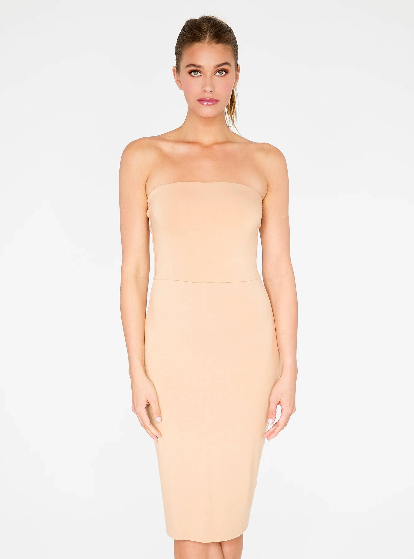 HeyYou Basic Sand Strapless Midi Bodycon Dress