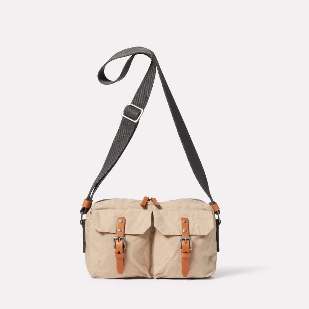 Franco Waxed Cotton Crossbody Bag in Putty