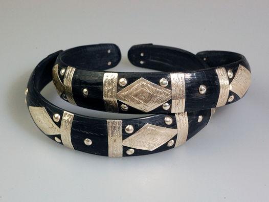 Туарегский браслет черный с серебром №1