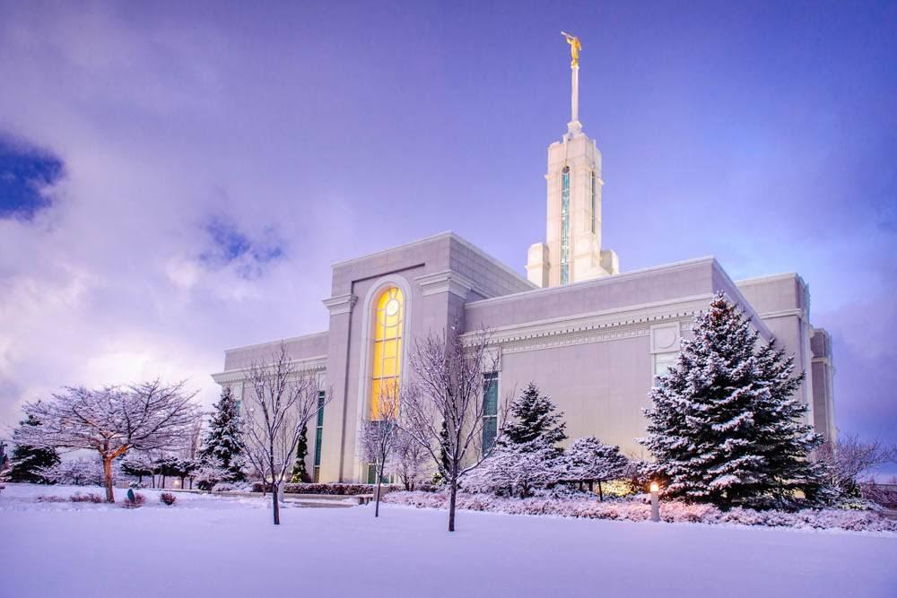 LDS art photo of the Mt Timpanogos Temple and grounds covered in snow.