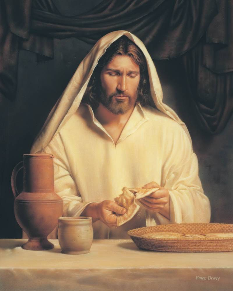 Painting of Jesus Christ breaking bread for the Last Supper.